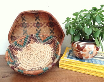 Pair of Vintage Earthy Woven Baskets