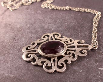 """Sarah Coventry """"Royal Flair"""" Amethyst Colored Pendant Necklace - Vintage 1975"""