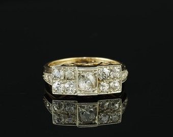ON SALE Fantastic Austro Hungarian 1.60 Ct cushion diamond Art Deco ring