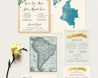 South America Bilingual Destination wedding invitation English Spanish Portuguese Colombia all other countries wedding map - DEPOSIT Payment