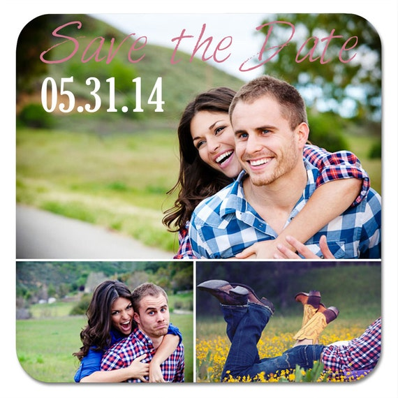 Save the Date Photo Coasters, Engagement Photo Coasters