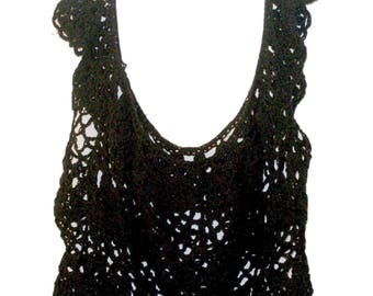 Black Top, Elegant Blouse, Formal Top, Dressy Crochet Top, Cotton Summer Top, Size Small to 3X, Plus Size Crochet, Wedding Clothes