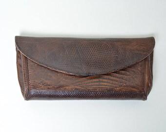 Vintage 1950s Lizard Clutch 50s Purse Handbag