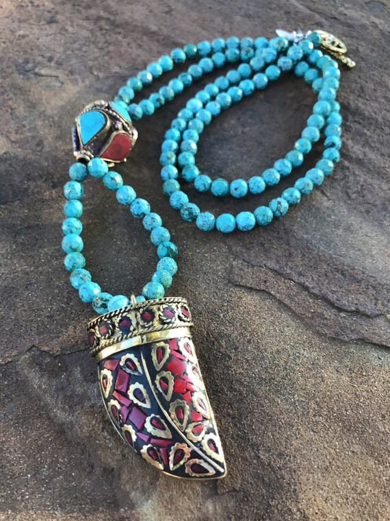 Long Boho Turquoise Necklace
