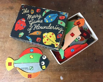 Vintage Board Game, Learning Numbers, Children's Vintage Toy, Floundering, Fish, Spears Games