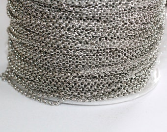 42ft Nickel Silver Rolo Chain 2mm-Cable Chain unsoldered links