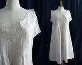 Cotton slip dress white, embroidery, Vintage Lingerie 1910's.