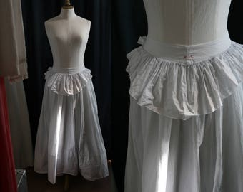 1900 Antique long white skirt (or petticoat), linen