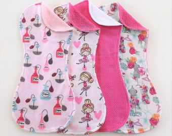 It's a Girl Thing Terry and Flannel Burp Cloth Set