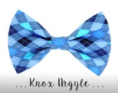 Blue Argyle Dog Bow Tie; Plaid Dog Collar BowTie: Knox Argyle
