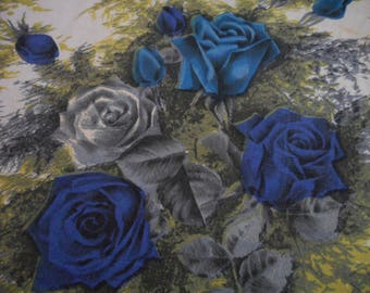 Vintage 1950's, 60's Blue, Turquoise, Grey Roses Curtain Cutter Fabric Panels