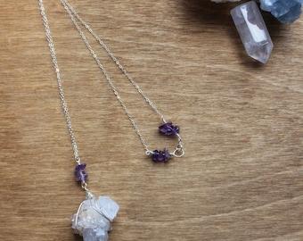Spirit Quartz & Amethyst Sterling Silver Necklace, Intrinsic Journeys Jewelry, Healing Crystal Jewelry