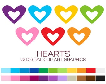 Valentine Heart Clipart for Personal & Commercial Usage - 22 digital hearts / 2x1.5 inches - A80016