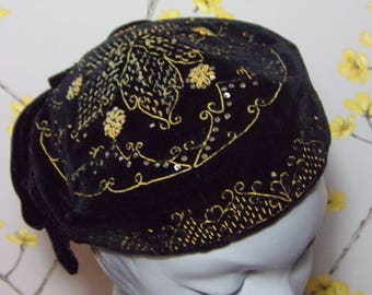 Vintage Victorian Smoking Cap Antique Metallic Thread Embroidered Hat Black Velvet Metallic Floral Design Antique Textiles