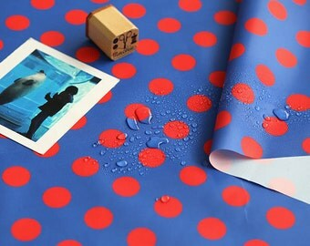 Red Polka Dots Blue Waterproof Fabric 59 Inches Wide - Fabric By the Yard 96974