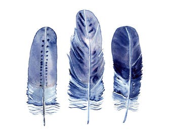 Indigo Feather Print, Blue Feathers Wall Art, Boho Watercolour Painting, Bohemian Decor