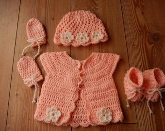 crochet baby girl cardigan, crochet baby girl sweater with matching hat/cap, mittens, booties peach newborn