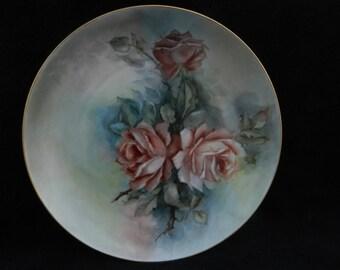 Vintage Cake Plate: Hand painted porcelain