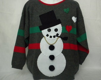Ugly Christmas Sweater Gangster Snowman with Pipe Mens Large