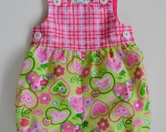 Baby girl romper, pink and green seersucker, romper with checks and hearts, baby gift, special occasion, photo shoot, newborn to 18 months.