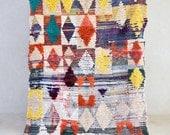 "STOPOVER: MADRID 8' x 4'7"" Boucherouite Rug. Vintage Moroccan. Tapis Berber. Mid Century Modern Design. M76"
