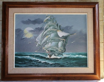 "Nautical Painting - Ship - Ocean - Art - Free Shipping in USA - 21"" X 17"" Framed - Blue - Man Cave Decor- Signed by Artist- Brown Wood Frame"