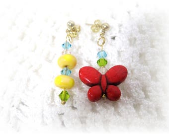 Fun  Butterfly Earrings, Handmade  yellow lampwork beads, Blue, Lime & Pink Swarovski crystals,Goldtone Posts, Free Shipping