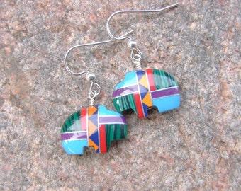 Southwest Buffalo Inlay Earrings, Buffalo Earrings, Southwest Style Earrings, Multicolor Inlay Earrings