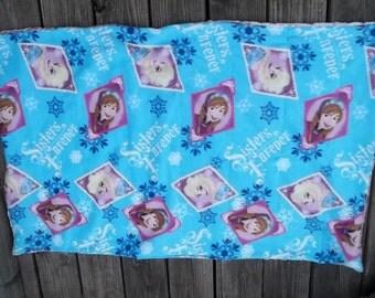 Frozen Sisters Blanket Sensory Pink Blue Elsa Ana Minky Reversible Ball