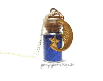 Moon and Star Necklace - 16 Inch Chain