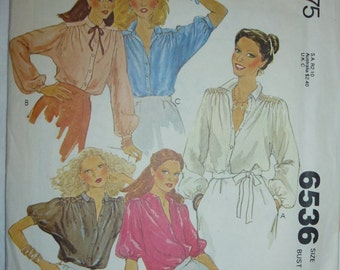 Vintage McCall's Carefree Pattern 6536 for Misses' Set of Blouses  Size 12  Bust 34