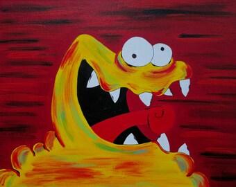 Yellow Monster Painting, Cute Monster Art, 9x12 Inch Painting, Horror Wall Art, Horror Painting, Halloween Art, Creature Art, Weird Monster