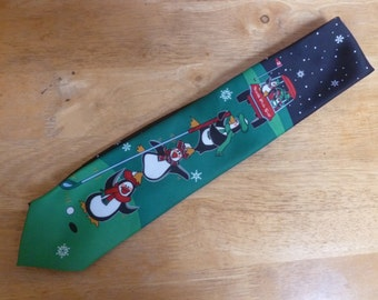 Penguin North Pole Golf necktie CHristmas