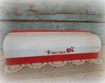 vintage wax paper dispenser / red & white / metal waxed paper holder / kitchen / 1940's / wall mounted