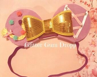 tangled rapuzel Sequin Bow Headband for Children to Adult elastic or headband