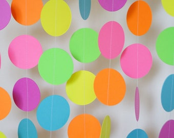 Bright Rainbow Paper Garland, Birthday Party Decoration, Colorful Neon Garland, Easter Decoration, 10 ft. long