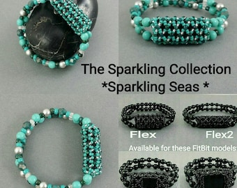 Bracelet for FitBit FLEX, FLEX2, ALTA, Alta2 or Charge2! *Sparkling Seas* Turquoise, Silver, Stretch, Free Resizing*