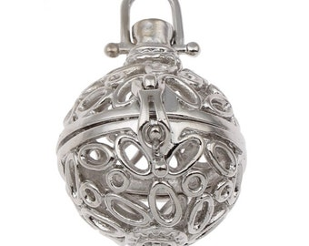 2pc platinum look metal prayer box pendant-7216