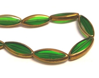 1 strand 17-18 pieces 19x8mm copper plated  glass beads-7229m