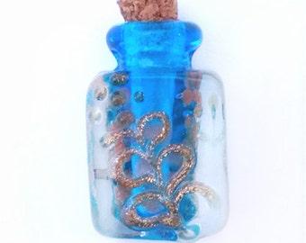 1 handmade murano style glass lampwork flower perfume corked bottle charm-#5