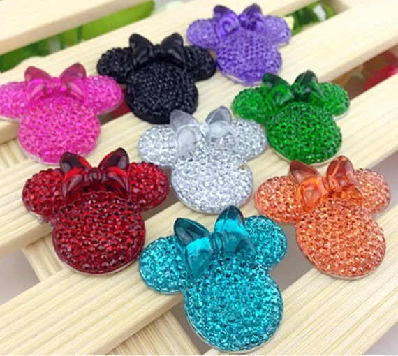 6pcs Mixed Colours 28mm Flat Back Mouse Head & Bow Resin Rhinestones Gems - DIY Craft Embellishments by MajorCrafts