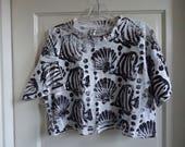 Vintage 80s Tropical ALL OVER Printed Half Shirt sz S/M