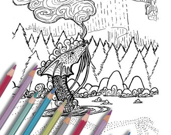 """Printable coloring page: """"Hotspring Dragon"""" Instant download - PDF"""