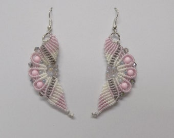 Wavy Micro Macrame  Earrings Beaded Lavender- Gray Pink White