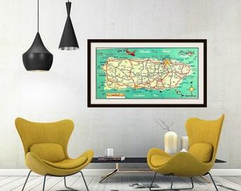 map PUERTO RICO art photo print teal red yellow art vintage San Juan 1960's Ponce Arecibo Caribbean Ocean sea beach house decor retro