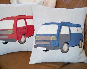 "VW T2 Camper Van Cushion Pillow Blue Cream Bus Caravan 18""x18"" 45x45cm Bye Brytshi"