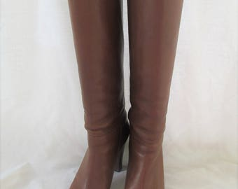 Banana Republic Tall Soft Leather Boots Chestnut Brown Size 11