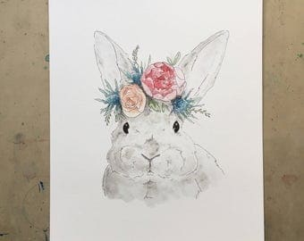 Grey Bunny with Flower Crown