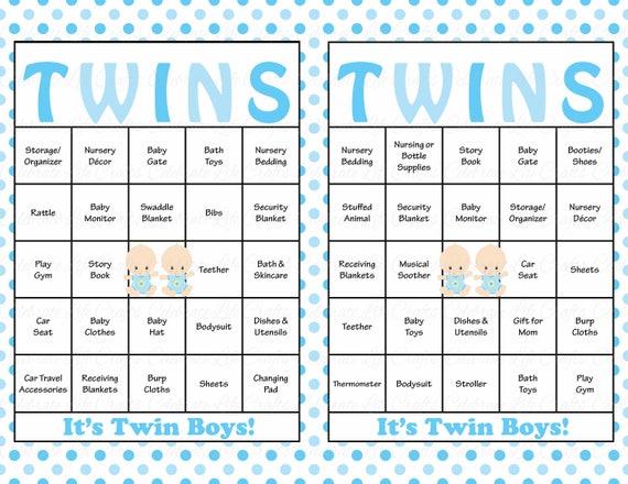 100 baby boy twins baby shower bingo cards prefilled bingo cards