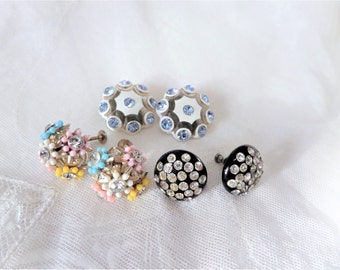 Vintage Earrings Lot Rhinestone Clip On Screw Back